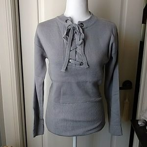 Sweaters - NWT Gray sweater Criss cross front M/L